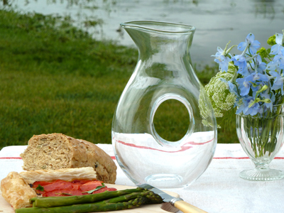 LSA glass carafe with cutout detail