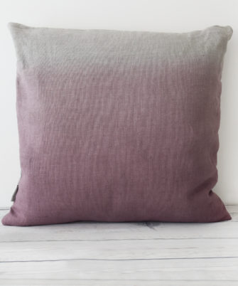 Damson hand dyed linen square cushion
