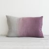 blueberry hand dyed linen rectangular cushion
