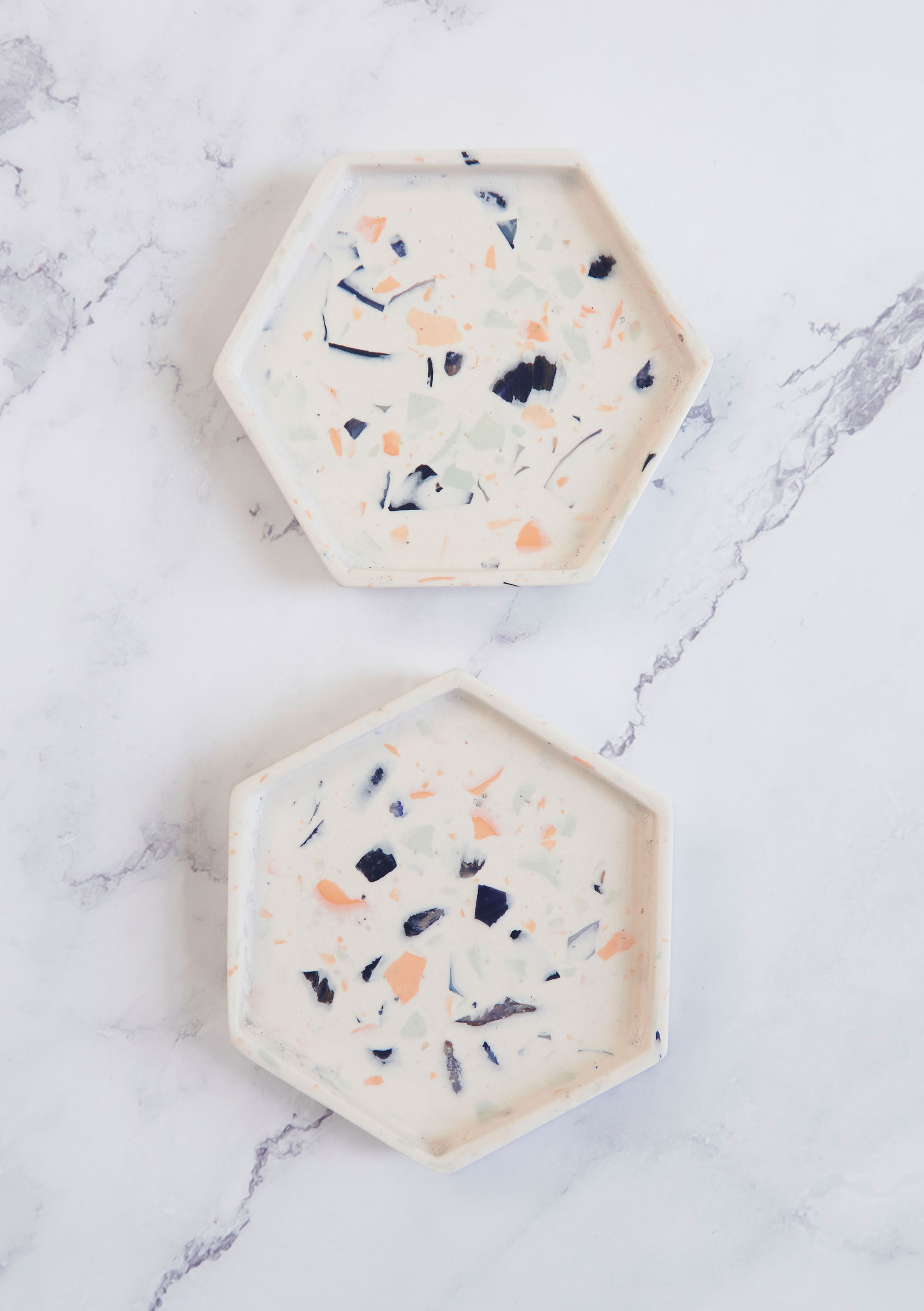 mint and white eco resin small trivet or coaster terrazzo coral